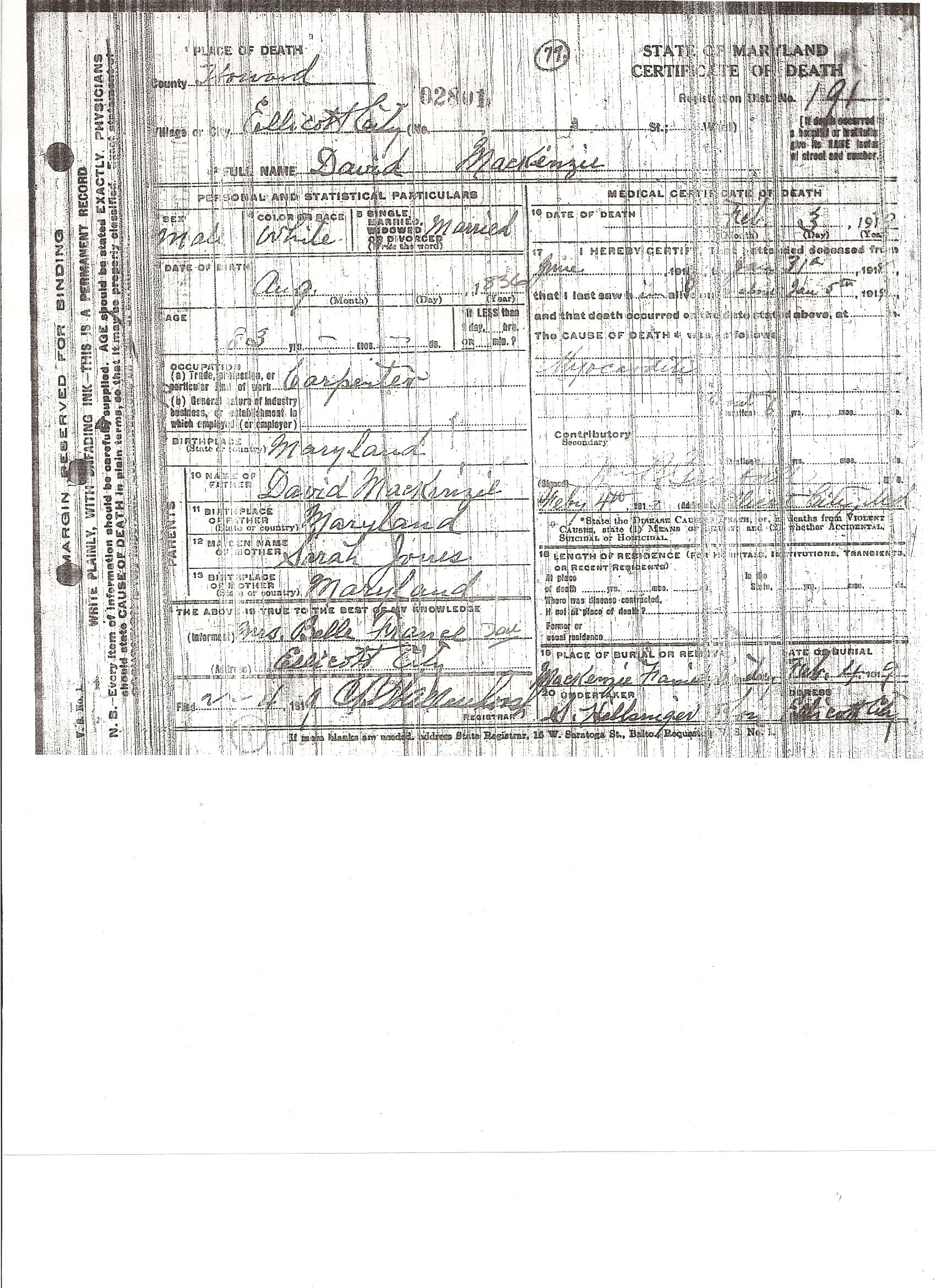 Documents Death Certificate Of David Mackenzie B 1836 The