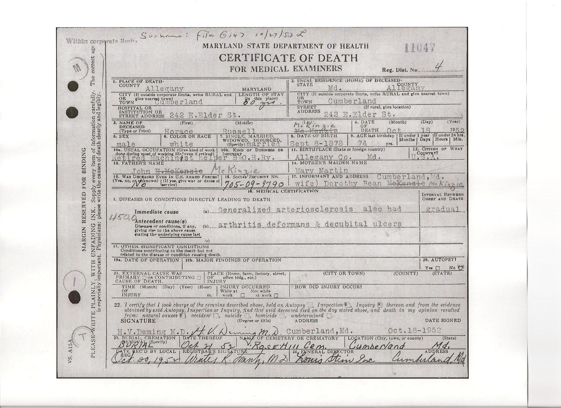 Documents Death Certificate Of Horace Russell Mckenzie B 1878