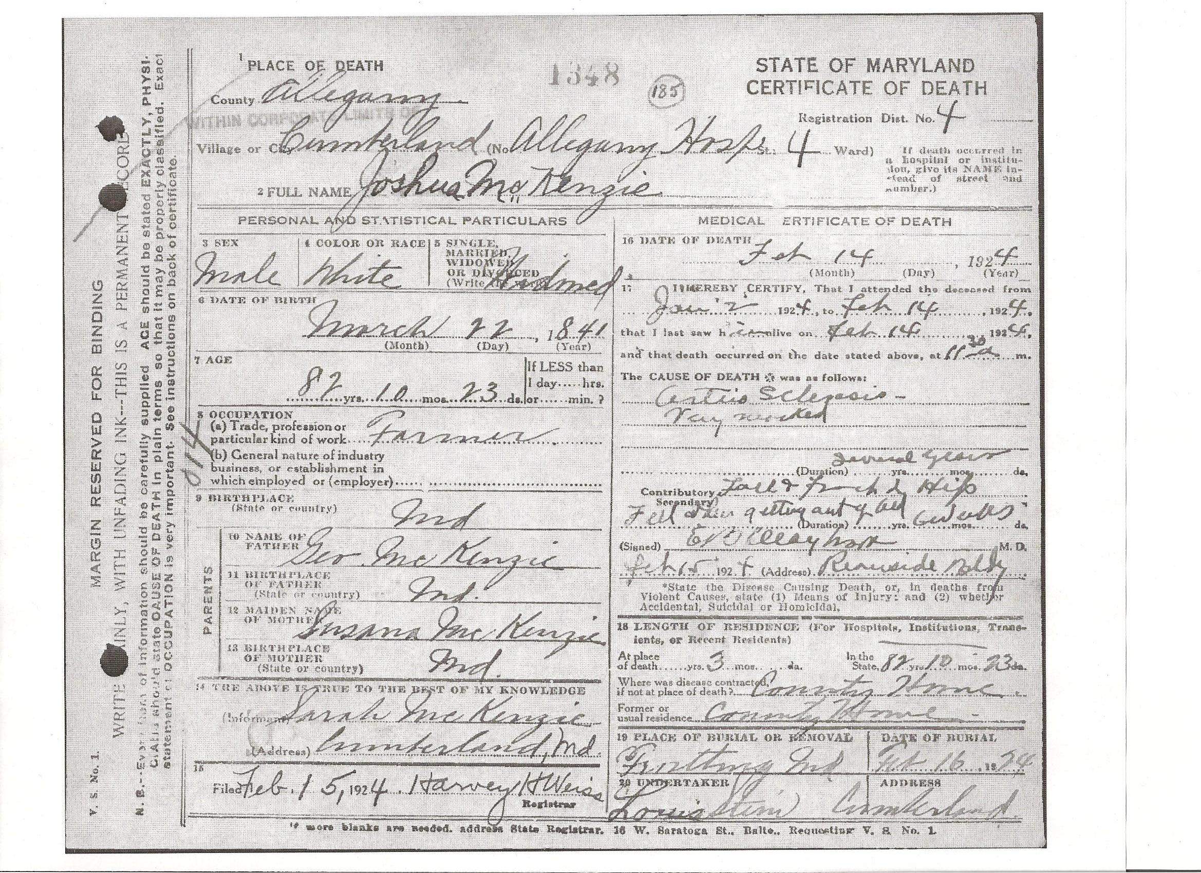 Documents Death Certificate Of Joshua Mckenzie B 1841 The