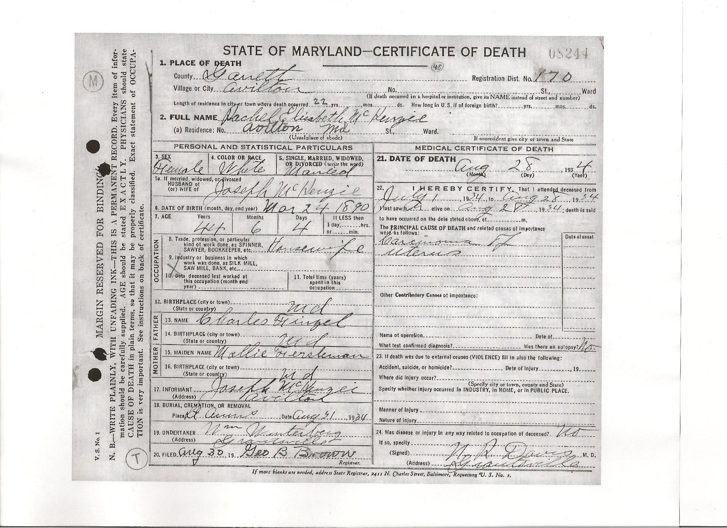 Documents Death Certificate Of Rachel Elisabeth Finzel B 1890
