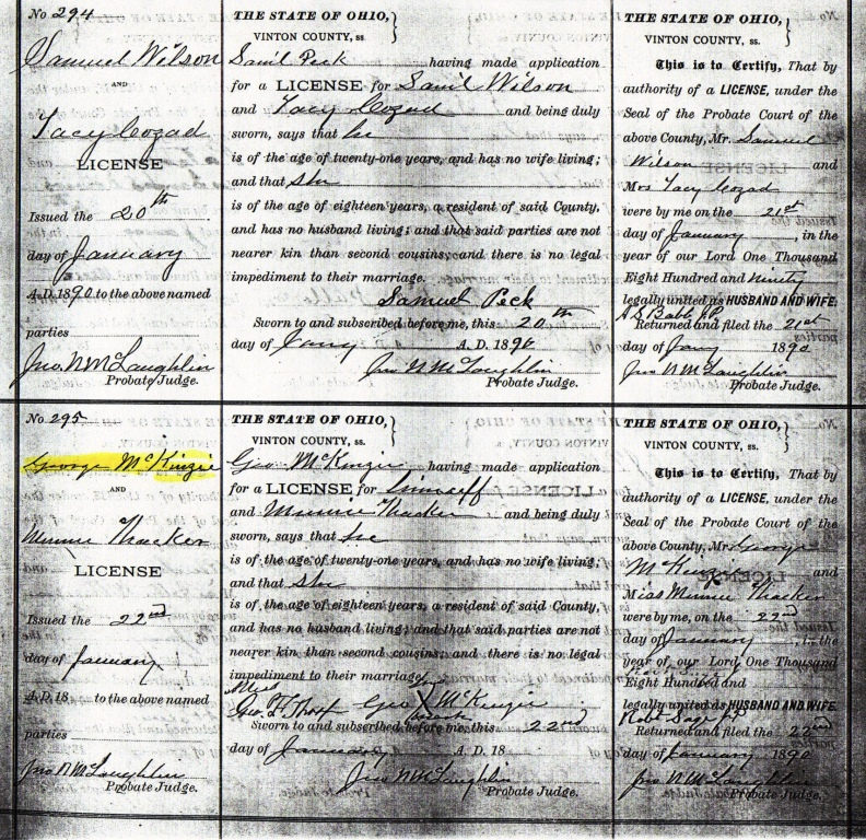 Documents Marriage Certificate Of George Theodore Mckenzie And