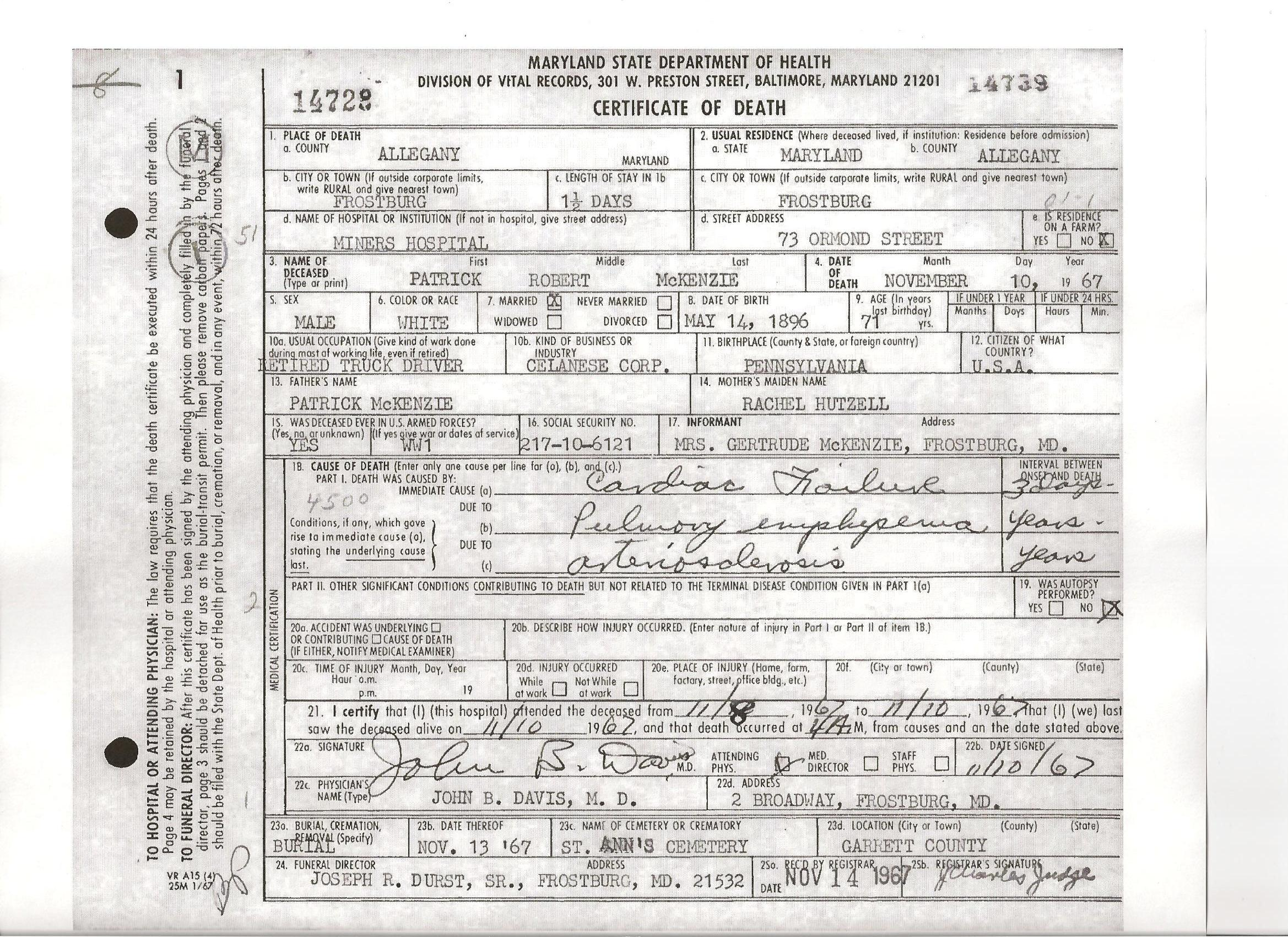Documents Death Certificate Of Patrick Robert Mckenzie B 1896